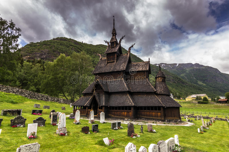 Borgund Stave Church, Norway. Borgund Stave Church, the best preserved of all stve churches in the world, protected by the society of ancient norwegian monuments stock photo