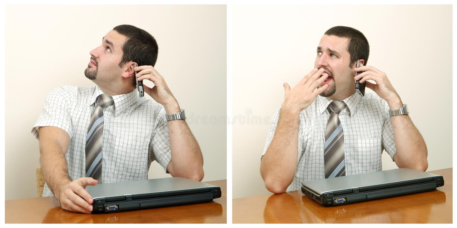 Boring conversation. A tired businessman having a boring conversation on mobile phone royalty free stock photography