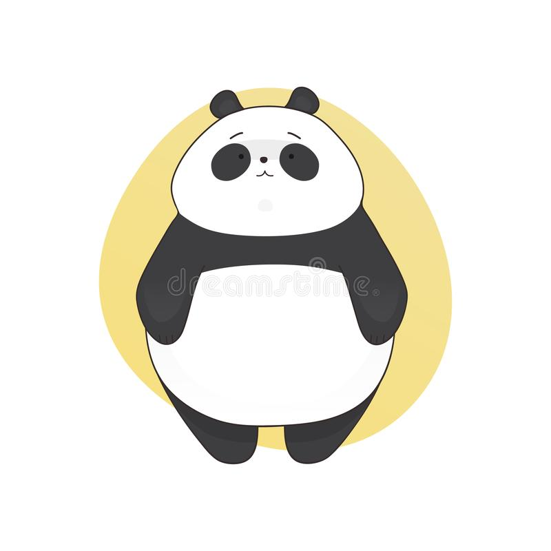 Boring cute panda cartoon style. Vector hand drawn illustration. stock photos