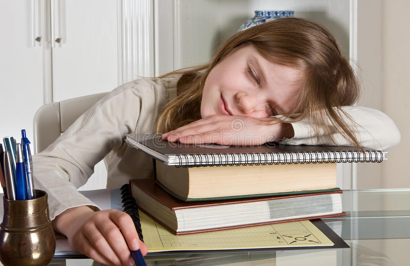 Boring homework royalty free stock photo