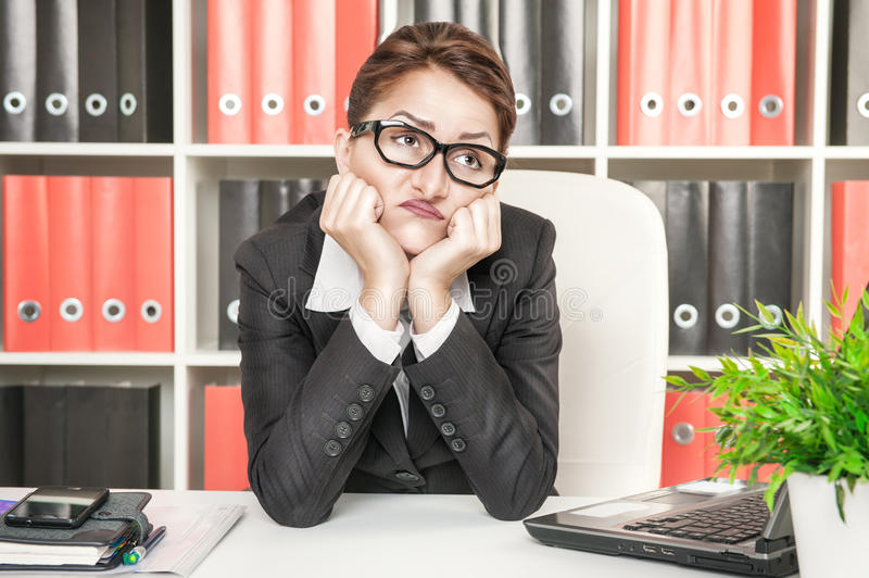 Boring Office Job : Boring office worker royalty free stock photo image