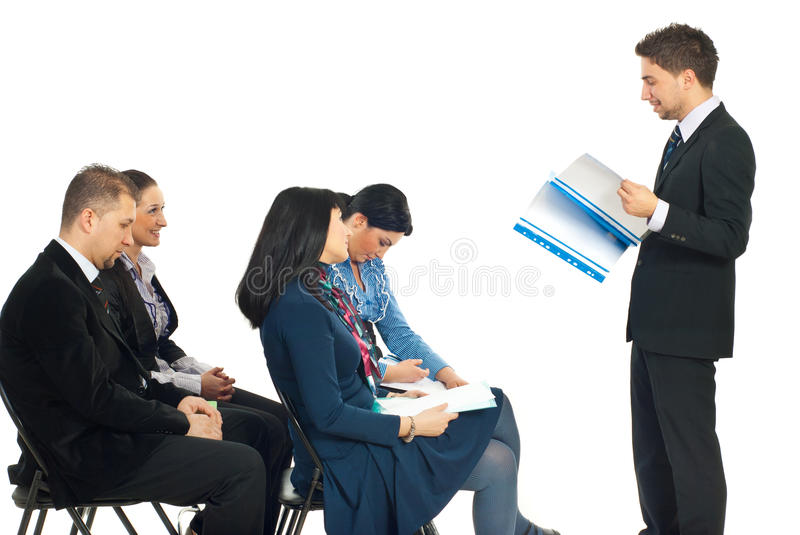 Boring speech at conference. Four business people at conference being bored by a colleague man speech isolated on white background stock photo