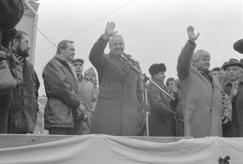Boris Eltsin adresuje demokratycznego wiec w USSR fotografia stock