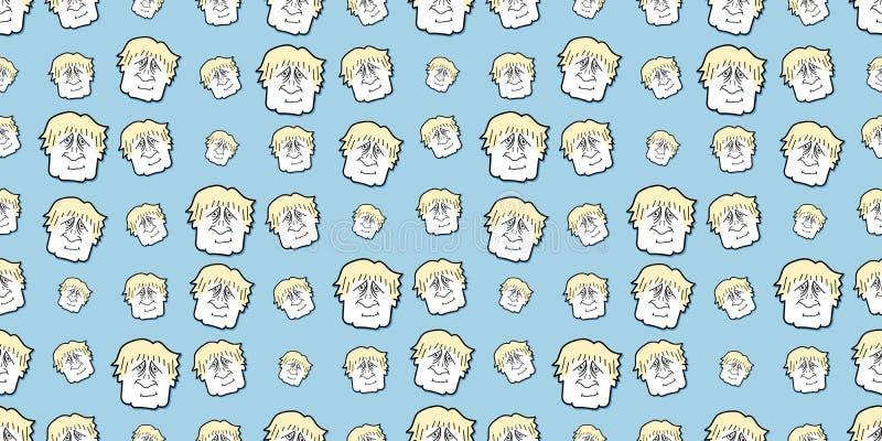 Boris Johnson-karikatyr, sömlös bakgrund vektor illustrationer
