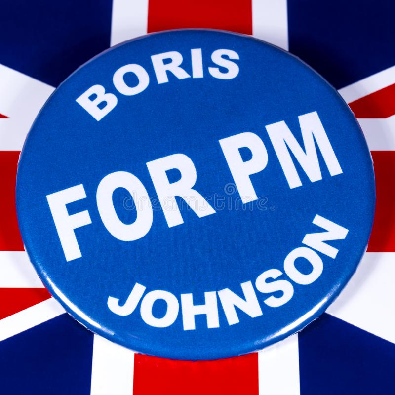 Boris Johnson for Prime Minister. London, UK - June 11th 2019: A badge with Boris Johnson for Prime Minister, pictured over the flag of the UK.  Boris Johnson is stock photography