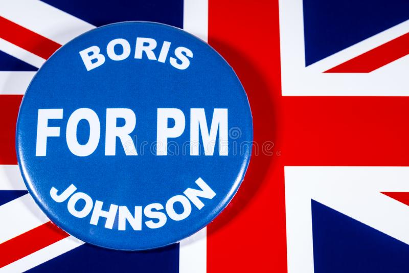 Boris Johnson for Prime Minister. London, UK - May 29th 2019: A badge with Boris Johnson for Prime Minister, pictured over the flag of the United Kingdom. Boris stock images