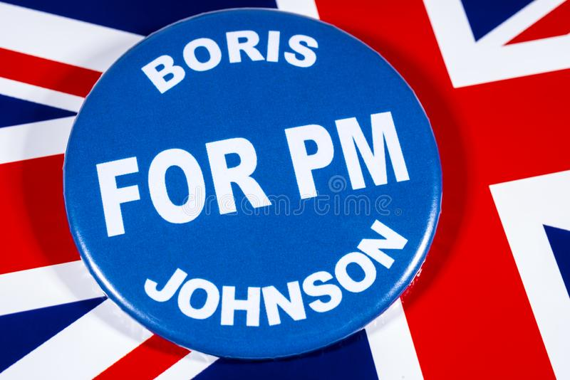 Boris Johnson for Prime Minister. London, UK - May 29th 2019: A badge with Boris Johnson for Prime Minister, pictured over the flag of the United Kingdom. Boris royalty free stock image