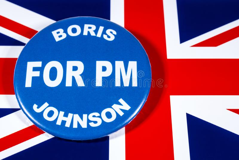 Boris Johnson for Prime Minister. London, UK - May 29th 2019: A badge with Boris Johnson for Prime Minister, pictured over the flag of the United Kingdom. Boris stock photography