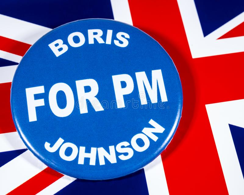 Boris Johnson for Prime Minister. London, UK - May 29th 2019: A badge with Boris Johnson for Prime Minister, pictured over the flag of the United Kingdom. Boris royalty free stock photo