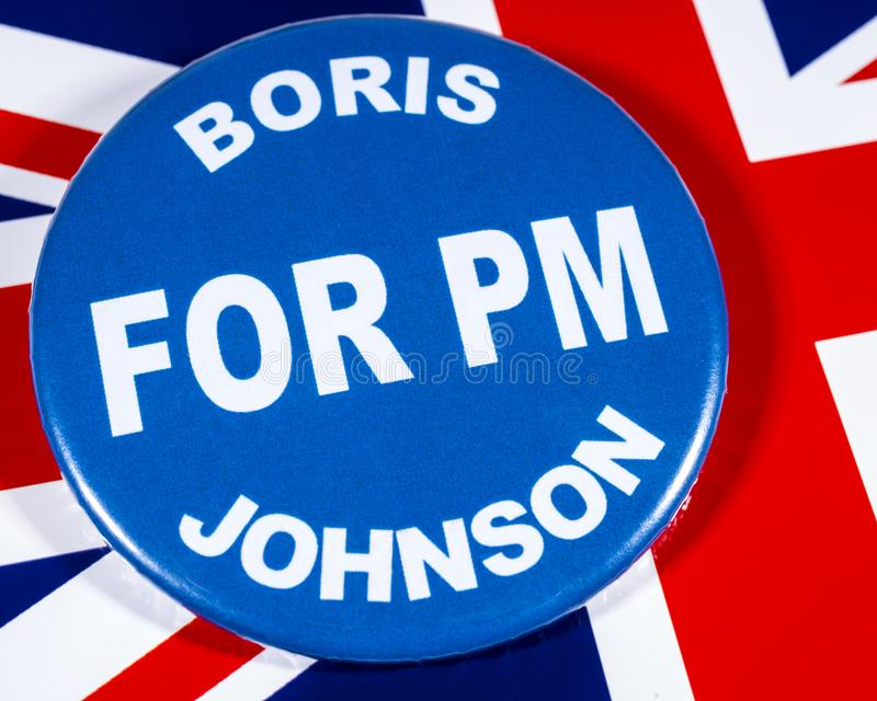 Boris Johnson for Prime Minister. London, UK - May 29th 2019: A badge with Boris Johnson for Prime Minister, pictured over the flag of the United Kingdom. Boris royalty free stock photos