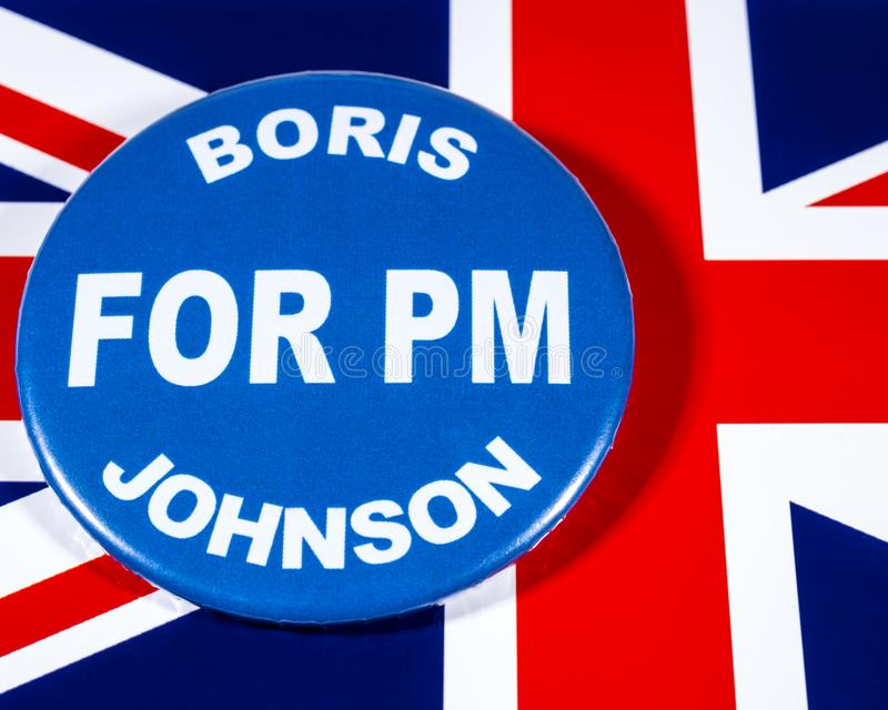 Boris Johnson for Prime Minister. London, UK - May 29th 2019: A badge with Boris Johnson for Prime Minister, pictured over the flag of the United Kingdom. Boris royalty free stock photography