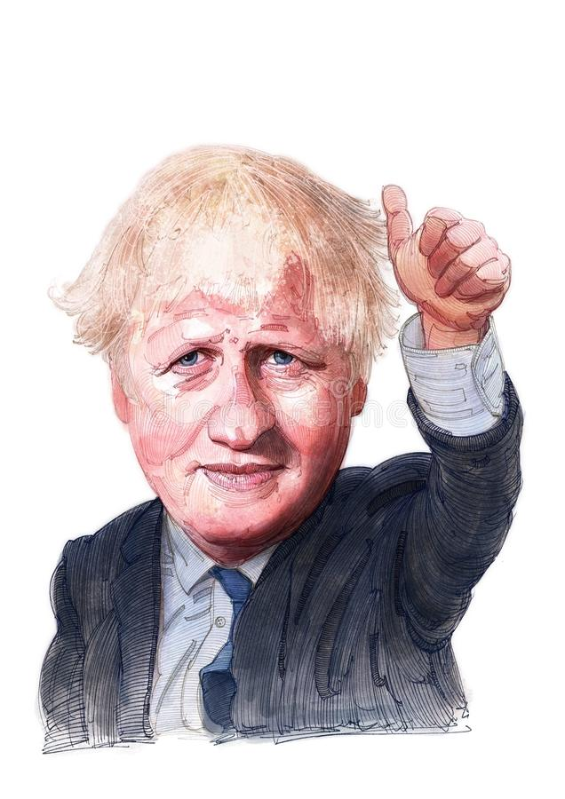 Boris Johnson watercolor illustration portrait. This is a watercolor Illustration of politician Boris Johnson for editorial use royalty free illustration