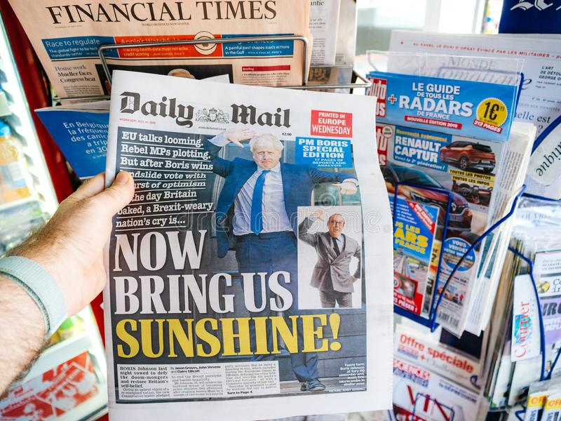 Boris Johnson wordt Britse het Verenigd Koninkrijk Eerste minister royalty-vrije stock foto
