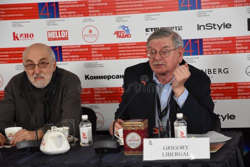 Boris Karadzhev, Grigory Libergal bij persconferentie royalty-vrije stock afbeeldingen