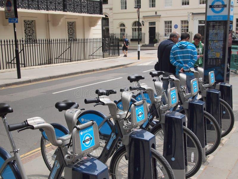 Boris Rental Bikes, London, UK royalty free stock image