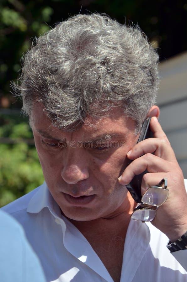 Boris Yefimovich Nemtsov Abschiedszeremonie mit V lizenzfreie stockbilder