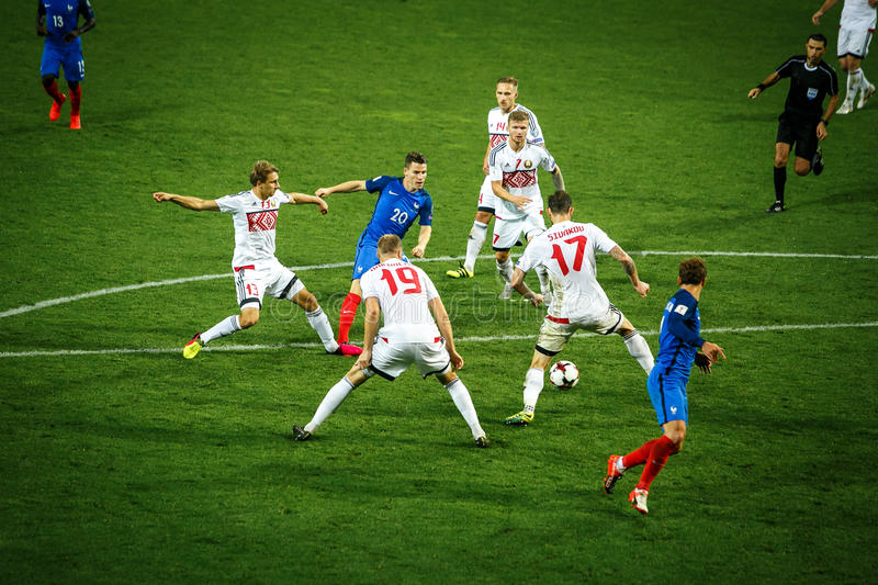 BORISOV - BELARUS, SEPTEMBER 2016 : France national football team in match of World Cup Qual. UEFA Group A. Between Belarus and France at the Borisov-Arena on stock images