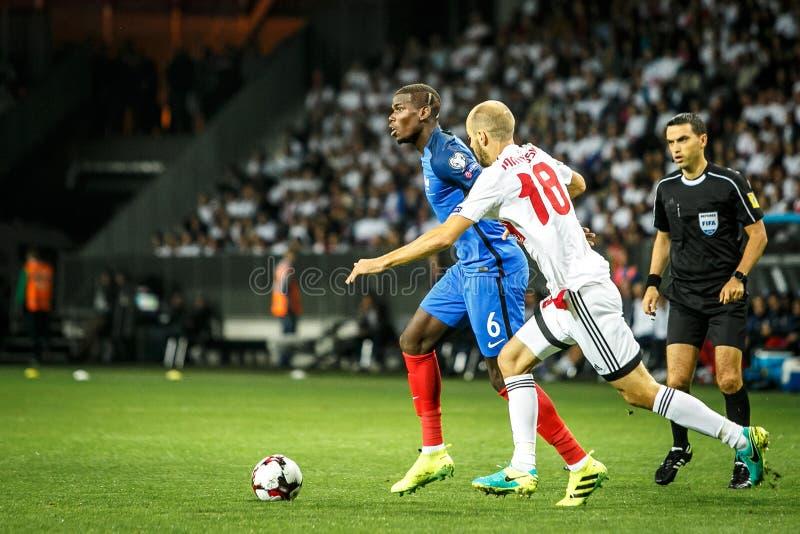 BORISOV - BIELORRUSIA, SEPTIEMBRE DE 2016: Pogba en el partido de fútbol del mundial Qual La UEFA agrupa A fotografía de archivo