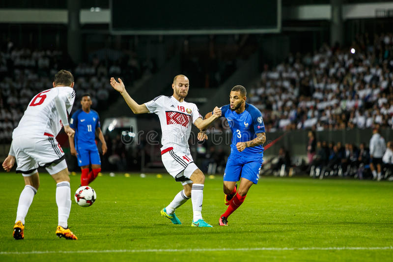 BORISOV - VITRYSSLAND, SEPTEMBER 2016: Frankrike nationellt fotbollslag i match av världscupen Qual UEFA grupperar A royaltyfria bilder