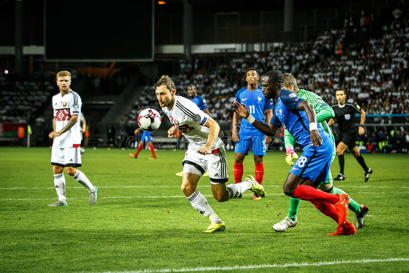 BORISOV - VITRYSSLAND, SEPTEMBER 2016: Frankrike nationellt fotbollslag i match av världscupen Qual UEFA grupperar A royaltyfria foton