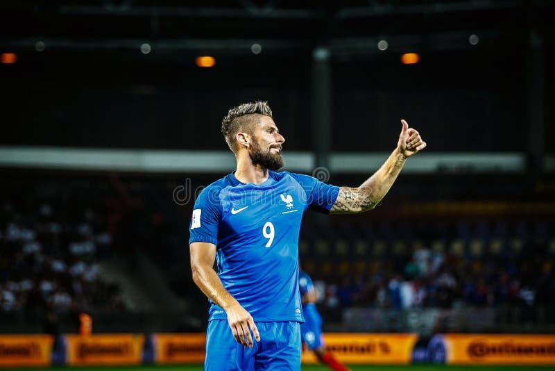 BORISOV - VITRYSSLAND, SEPTEMBER 2016: Olivier Giroud från Frankrike det nationella fotbollslaget i match av världscupen Qual arkivfoton