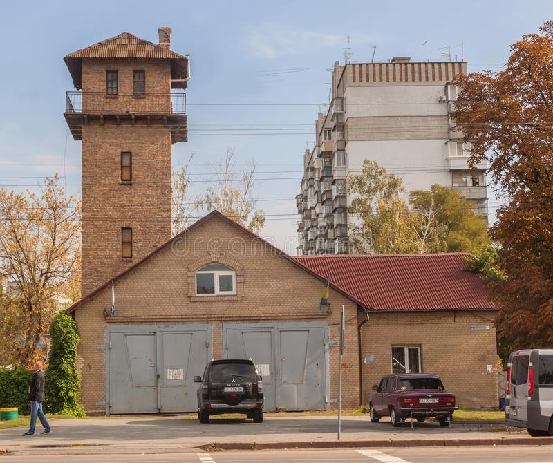 Borispol, Ucrania: viejo parque de bomberos fotos de archivo