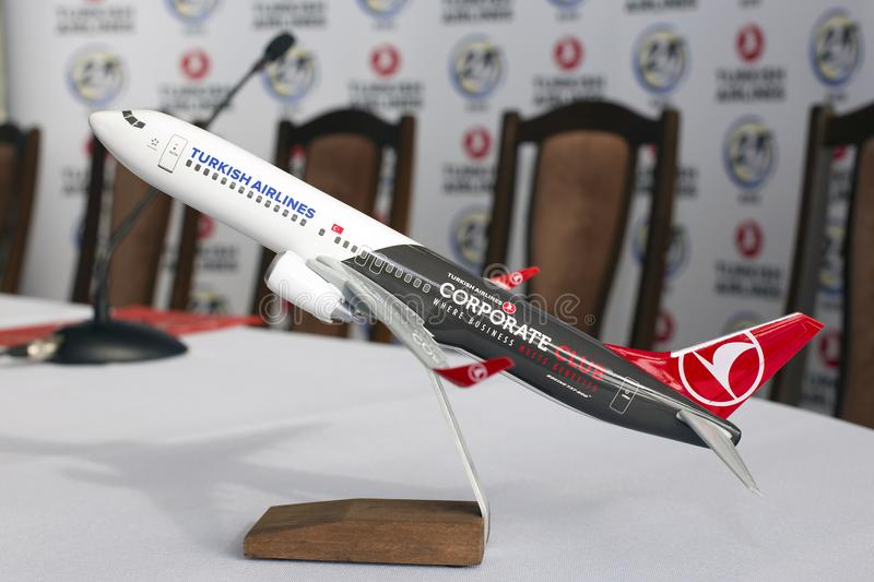 Model of the Turkish Airlines Boeing 737-800 aircraft. Borispol, Ukraine - April 25, 2018: Model of the Turkish Airlines Boeing 737-800 aircraft. Editorial use royalty free stock photo