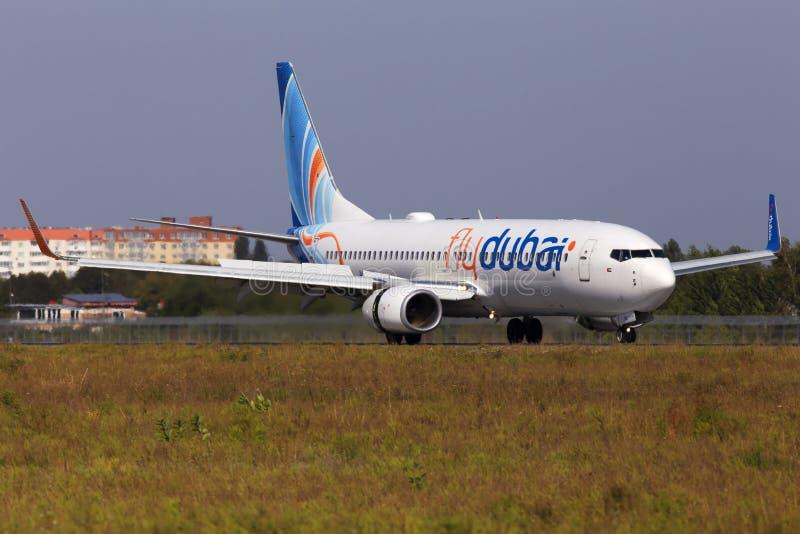A6-FEU flydubai Boeing 737-800 aircraft departing from the Borispol International Airport. Borispol, Ukraine - September 10, 2019: A6-FEU flydubai Boeing 737-800 royalty free stock image