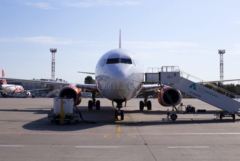 Maintenance of the UR-SQB SkyUp Airlines Boeing 737-800 aircraft on the parking area of the Borispol International Airport. Borispol, Ukraine - September 10 stock image