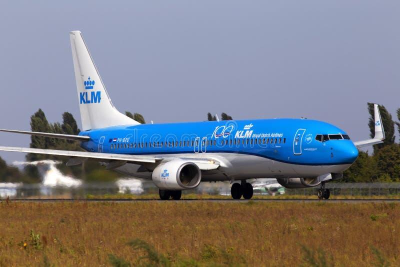 PH-BXU KLM Royal Dutch Airlines Boeing 737-800 aircraft departing from the Borispol International Airport. Borispol, Ukraine - September 10, 2019: PH-BXU KLM stock photos