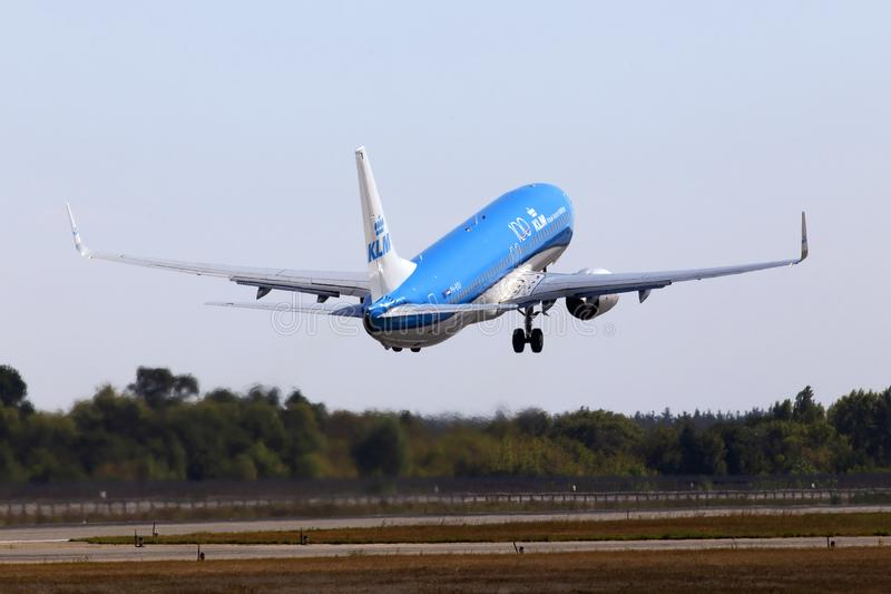 PH-BXU KLM Royal Dutch Airlines Boeing 737-800 aircraft departing from the Borispol International Airport. Borispol, Ukraine - September 10, 2019: PH-BXU KLM royalty free stock photography