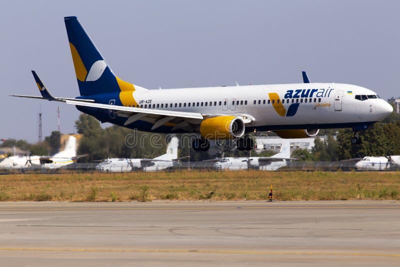 UR-AZE Azur Air Ukraine Boeing 737-800 aircraft landing on the runway of Borispol International Airport. Borispol, Ukraine - September 10, 2019: UR-AZE Azur Air stock image