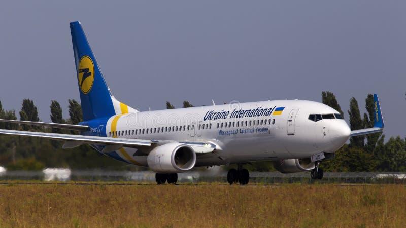 UR-UIC Ukraine International Airlines Boeing 737-800 aircraft departing from the Borispol International Airport. Borispol, Ukraine - September 10, 2019: UR-UIC stock photos