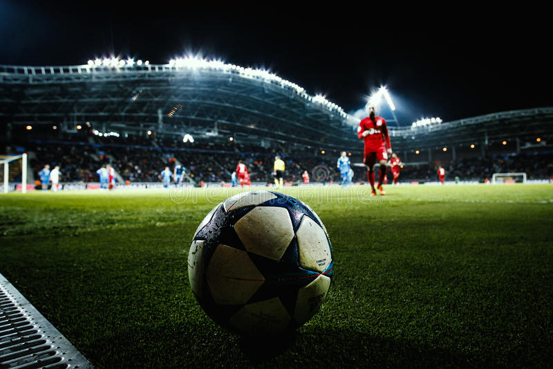 Borissow, Weißrussland - Oktober 2015: Meister-Liga-Ballnahaufnahme stockfotos