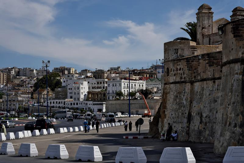 Borj Dar Baroud. Fortress in Tangier. View from Route de la Plage Merkala.  Morocco. Africa stock images