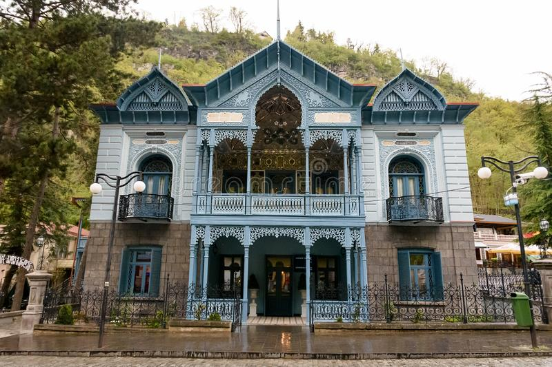 Borjomi, Georgia - May, 04 - 2019: House of Mirza-Riza-Khan is an architectural monument, one of symbols of Borjomi city. Borjomi, Georgia - May, 04 - 2019 stock photography