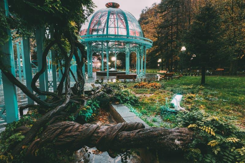 Borjomi, samtskhe-Javakheti, Georgië De hete Lente van Borjomi-Mineraalwater in Paviljoen Het beroemde Lokale Oriëntatiepunt is S stock afbeeldingen