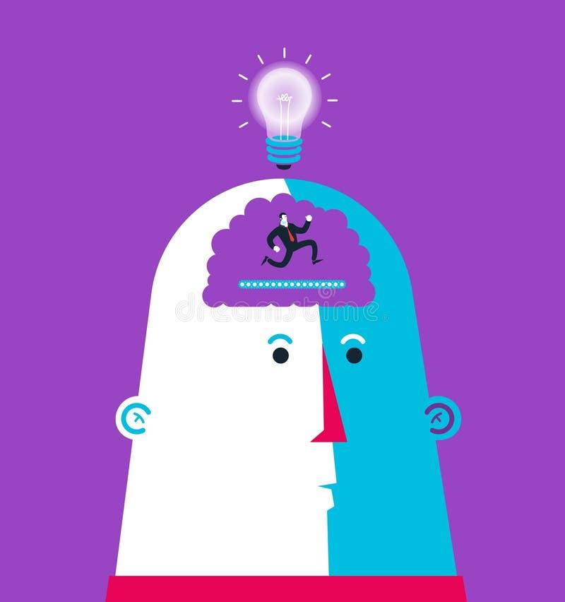 Born idea in ti head. Head shaking hands. vector illustration