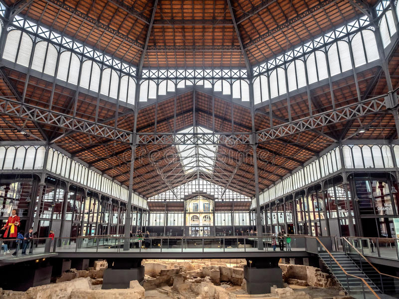 Born Market interior in the old town of Barcelona royalty free stock photos