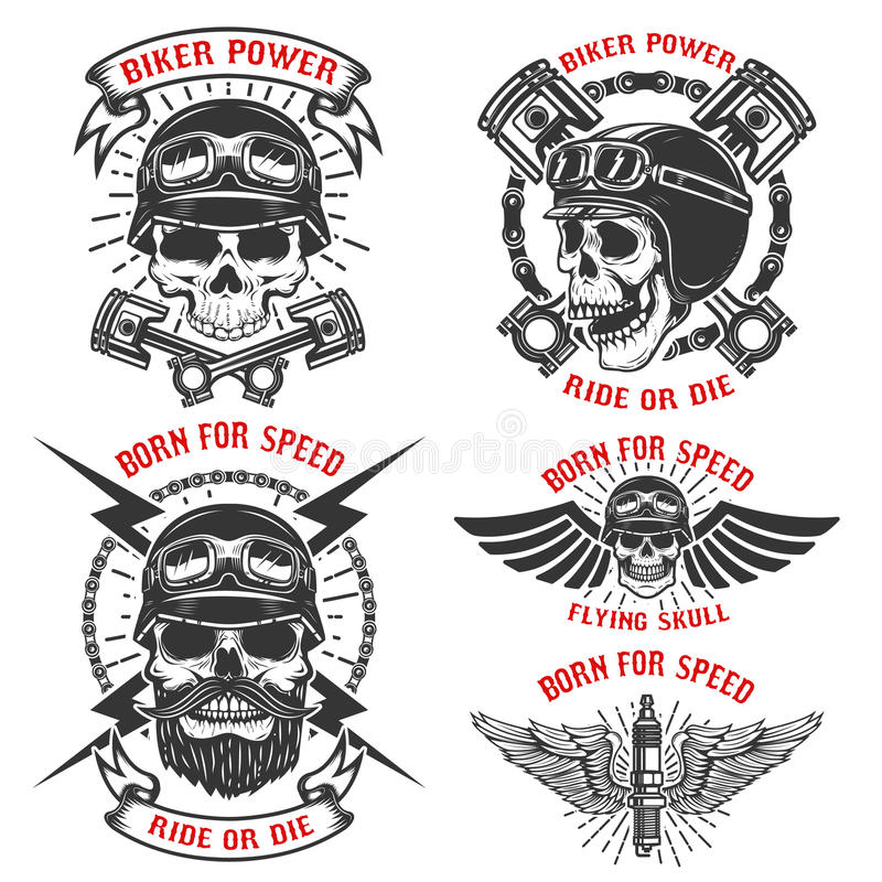 Born for speed. Set of the emblems with racer skulls. Biker club stock illustration