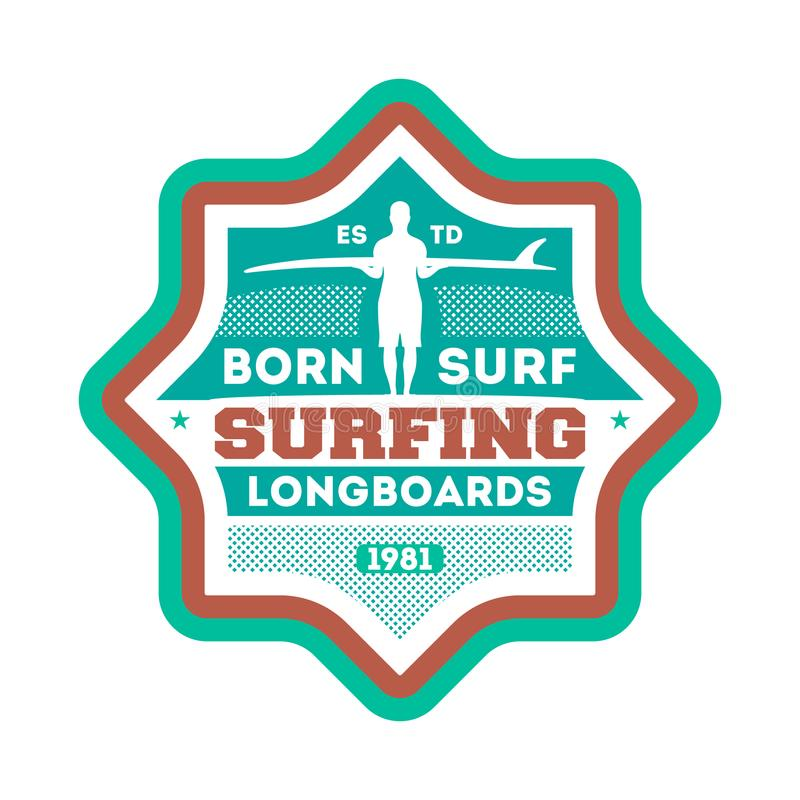 Born to surf vintage isolated label vector illustration
