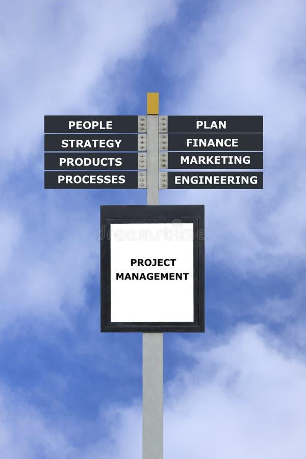 Borne de sinal da carta do conceito da gestão do projecto ilustração royalty free