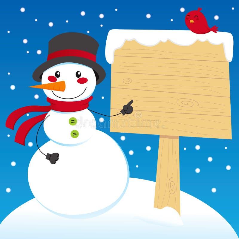 Borne de sinal do boneco de neve ilustração stock