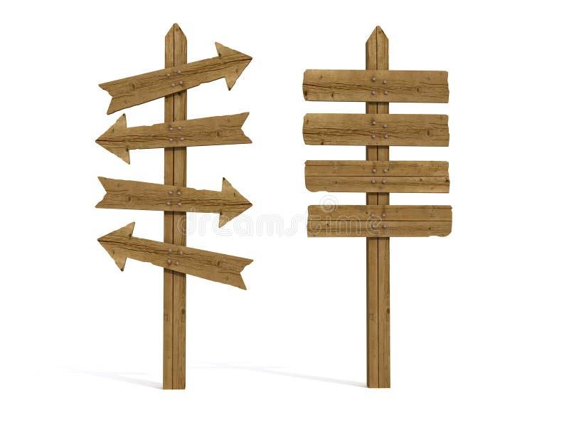 Borne de sinal dois de madeira velho ilustração do vetor