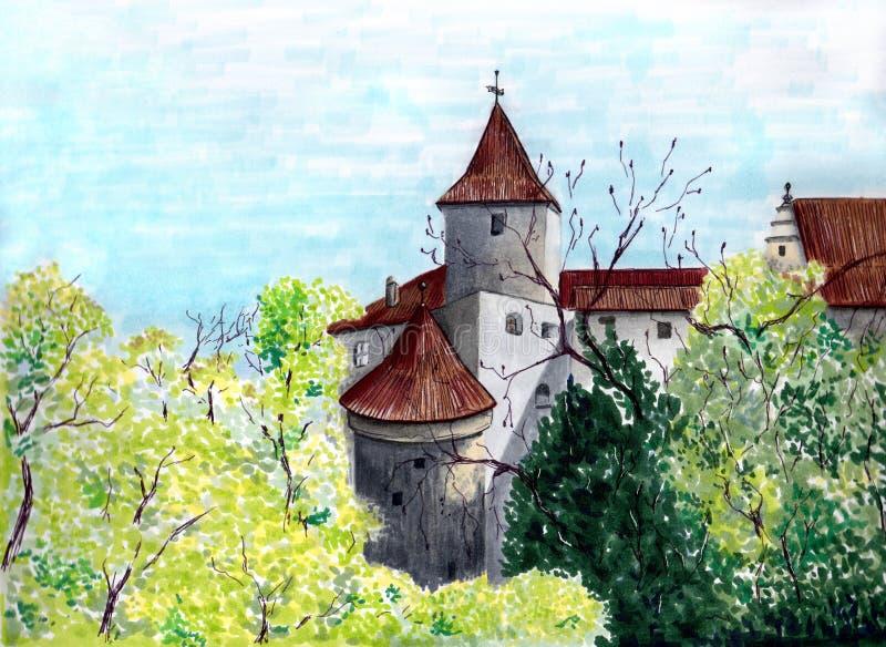 Borne limite colorée Illustration médiévale de château Illustration pittoresque Croquis de marqueurs prague République de Chezh illustration stock