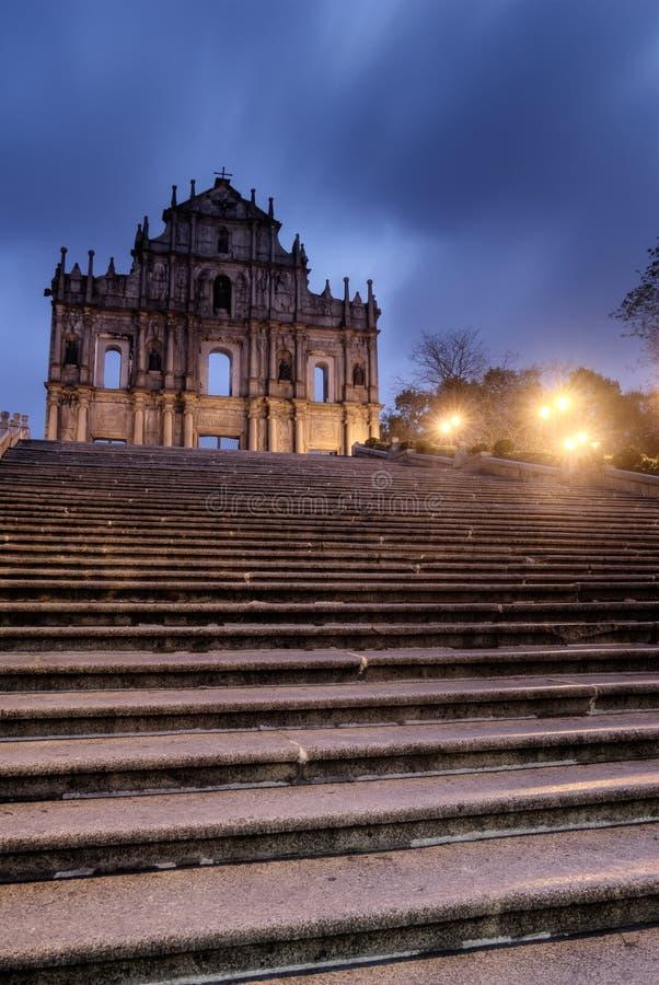 Borne limite du Macao - ruines de rue Paul photographie stock libre de droits