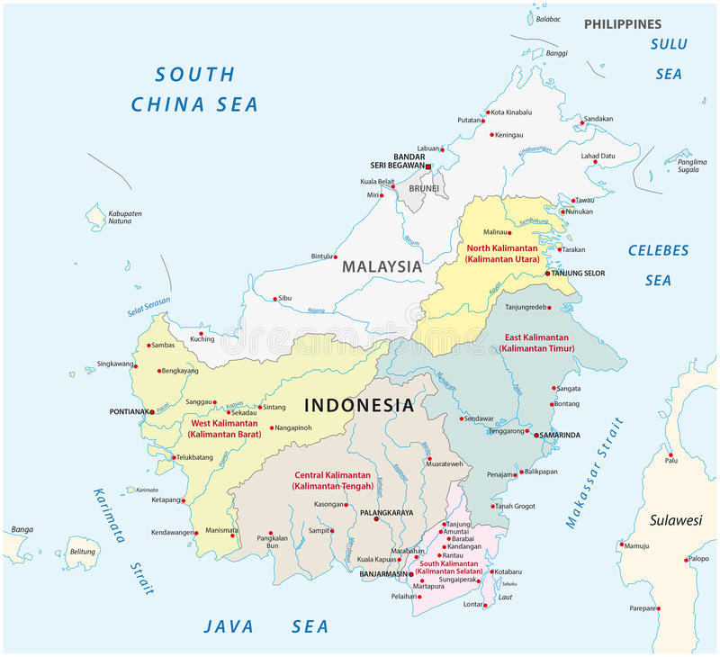 Borneo Kalimantan Administrative Map Stock Illustration
