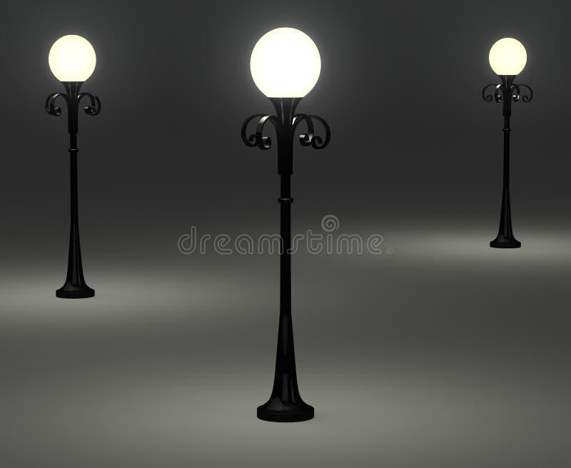 bornes antiquados da lâmpada 3d ilustração do vetor