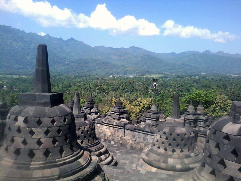 Borobudur Świątynny wysoki widok fotografia stock