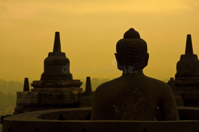 Borobudur ad alba. fotografia stock libera da diritti